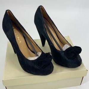 Amiana Faux Fur Black Platform Heels Accent Knot 8